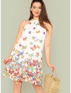 Plus Butterfly Print Halter Tunic Dress by Shein