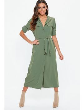 Khaki Long Sleeve Utility Shirt Dress by Missguided