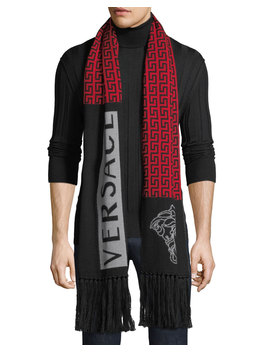 Men's Logo Pattern Fringed Wool Scarf by Versace