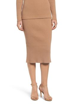 Ribbed Knit Midi Skirt by English Factory