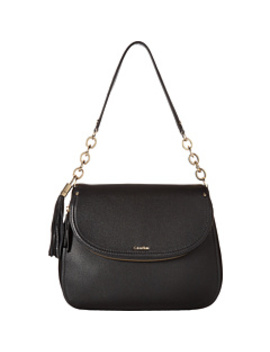 Lynn Pebble Flap Hobo Shoulder Bag by Calvin Klein