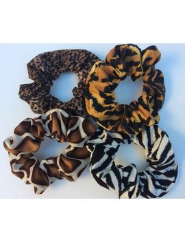 4 Hair Scrunchies Scrunchie Schrun Animal Prints / Covers, Elastics, Buns, Holders Adult Womens Teens by Etsy