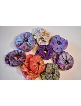 Hair Scrunchies, Hand Dyed And Handwoven, Several Color Ways, Blues And Pinks, Purples, Oranges, Yellow And Blue, Natural, Blue And Lavender by Etsy