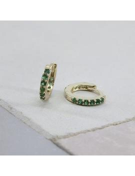 Small Hoop Earrings   Emerald Earrings   Green Hoops   Minimalist Hoop Earrings   Cz Earrings   Dainty Earrings   Dainty Hoops  Huggie Hoops by Etsy