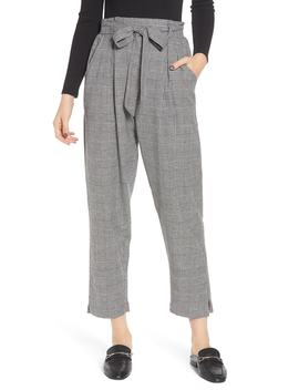 Paperbag Waist Glen Plaid Pants by Angie