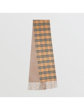 Long Reversible Vintage Check Double Faced Cashmere Scarf by Burberry