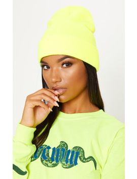 Neon Lime Knitted Beanie by Prettylittlething