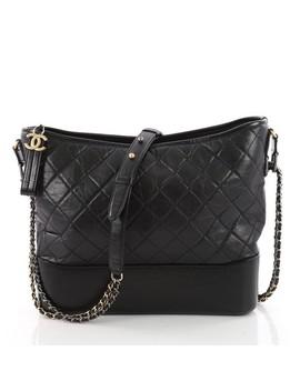 Gabrielle Hobo Large Black Leather Shoulder Bag by Chanel