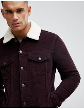 New Look Corduroy Jacket With Borg Lining In Burgundy by New Look