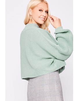 Laura Jade Light Green Cropped Balloon Sleeve Jumper by In The Style