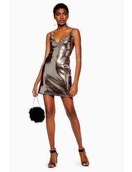 Gold Foil Sequin Mini Dress by Topshop