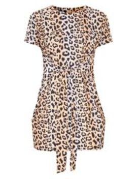 Brown Leopard Print Tie Waist Oversized T Shirt Dress by Prettylittlething