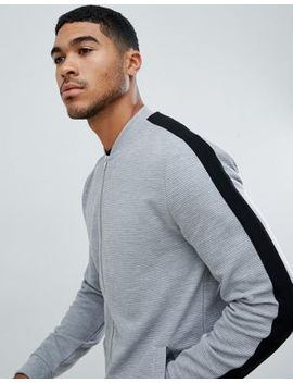 Asos Design Jersey Rib Bomber Jacket With Side Stripe In Gray by Asos Design