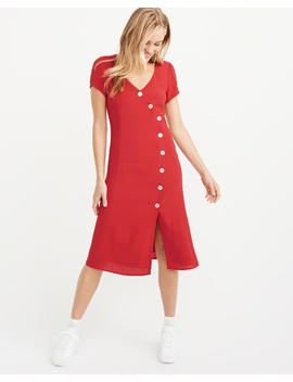 Asymmetrical Button Front Midi Dress by Abercrombie & Fitch