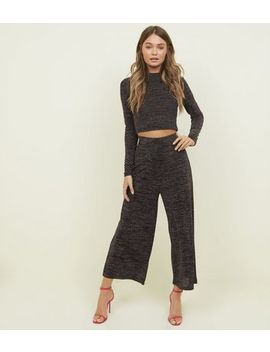 Black Glitter High Neck Party Crop Top by New Look