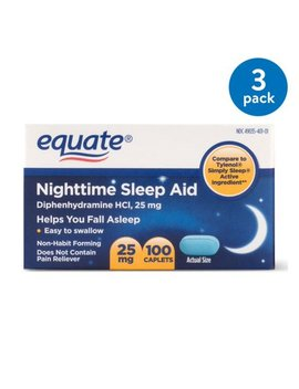 (3 Pack) Equate Nighttime Sleep Aid Diphenhydramine H Cl Caplets, 25 Mg, 100 Ct by Equate