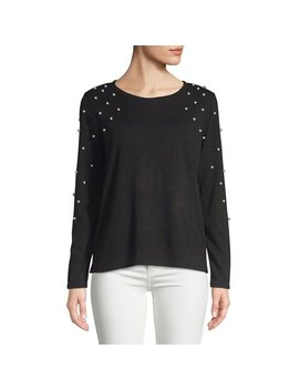 Faux Pearl Embellished Long Sleeve Top by Imnyc Isaac Mizrahi