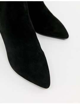 Dune Omarii Suede Mide Heeled Ankle Boots In Black by Dune
