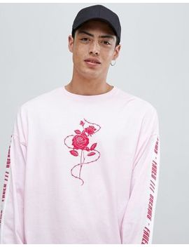 Asos Design Oversized Long Sleeve T Shirt With Rose And Text Sleeve Print by Asos Design