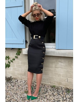Laura Jade Black High Waisted Midi Skirt With Button Side Split by In The Style
