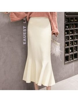 Akari   Fitted Mermaid Midi Knit Skirt by Akari