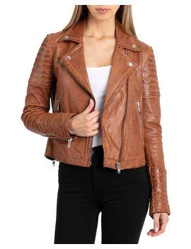 Garment Washed Leather Biker Jacket by Bagatelle