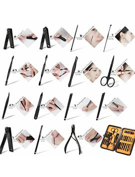 Keiby Citom Professional Stainless Steel Nail Clipper Travel & Grooming Kit Nail Tools Manicure & Pedicure Set Of 15pcs With Luxurious Case (Black/Red) by Amazon