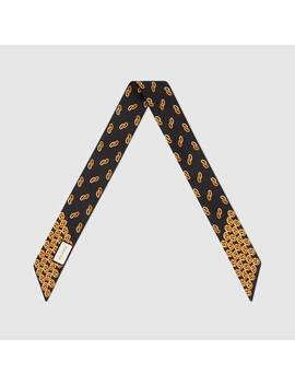 Silk Neck Bow With Interlocking G Print by Gucci