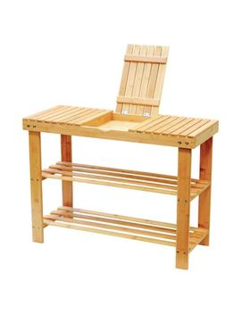 3 Tier Natural Wooden Bamboo Bench Shoe Rack Holder With Storage Compartment by Ebay Seller