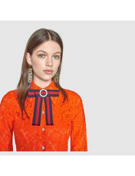 Jeweled Grosgrain Web Neck Bow by Gucci