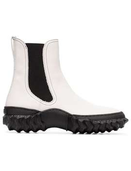 Black And White Scuba And Leather Ankle Boots by Marni
