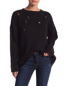 Distressed Knit Long Sleeve Sweater by Romeo & Juliet Couture