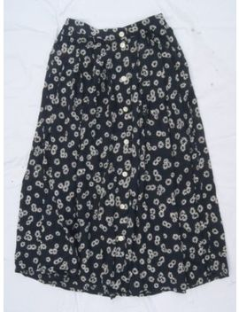 Vintage St Michaels Size 10 Skirt High Waist Button Front Dark Blue Floral Daisy by Ebay Seller