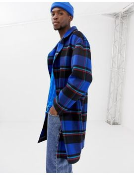 Collusion Longline Overcoat In Blue Check by Collusion