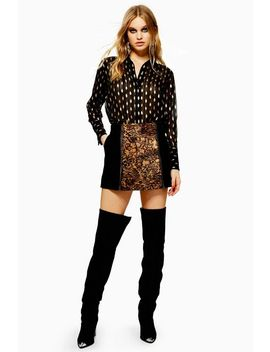 Animal Leather Mini Skirt by Topshop