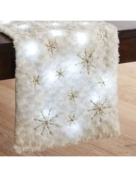 "Led Light Up Arctic Fur Snowflake 72"" Table Runner by Pier1 Imports"
