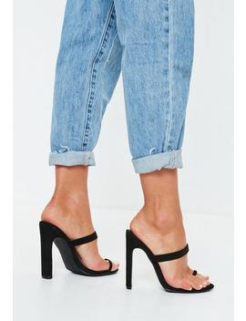 Black Toe Post Mules by Missguided