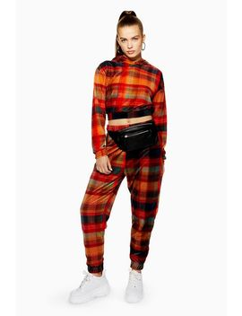 Velvet Check Joggers by Topshop