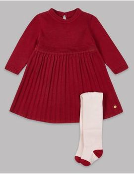 Knitted Dress & Tights Outfit by Marks & Spencer