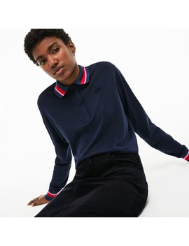 Women's Polo Collar Contrast Accent Silk Cotton Jersey Sweater by Lacoste