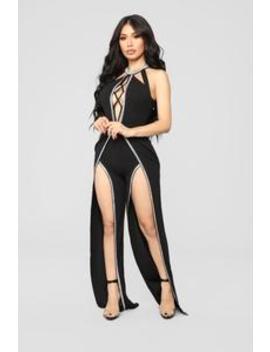 Just Got Paid Rhinestone Jumpsuit   Black by Fashion Nova