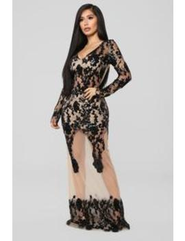 Lingering Desire Embroidered Dress   Black/Nude by Fashion Nova