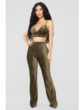 Take Me Out Stripe Set   Olive by Fashion Nova