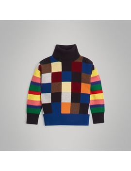 Patchwork Cashmere Roll Neck Sweater by Burberry
