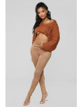 You Know Who I Am Suede Leggings   Mocha by Fashion Nova