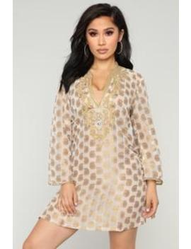 Royal Vacation Coverup Tunic   Gold by Fashion Nova