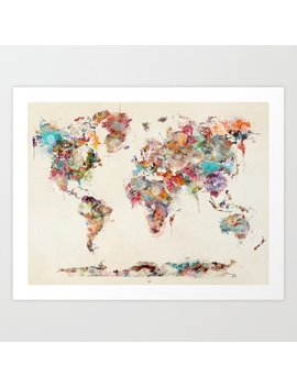 World Map Watercolor Deux Art Print by