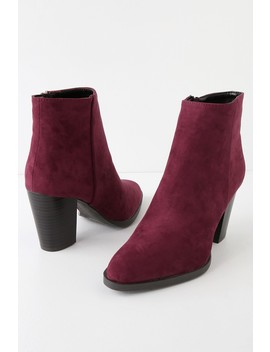 Annelise Burgundy Suede Ankle Booties by Lulus