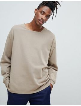 Asos Design Oversized Sweatshirt With Square Neck And Split Hem In Beige by Asos Design