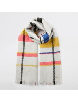 Cream Colour Pop Check Scarf by River Island
